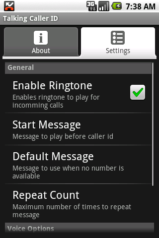 Talking Caller ID (free)- screenshot