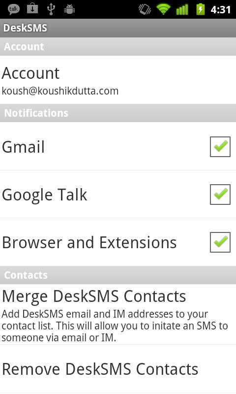 DeskSMS - screenshot