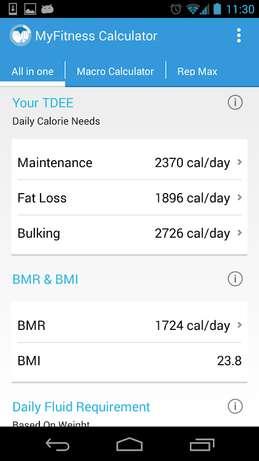 MyFitness BMI Calculator IIFYM- screenshot