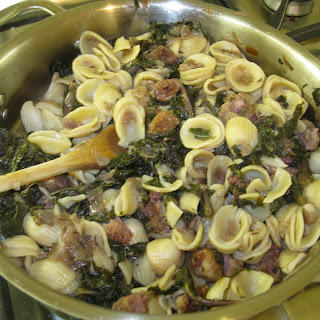 Orrechiette with red Kale and Bacon cubes.