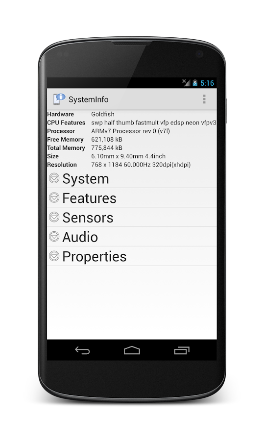 Systeminfo- screenshot