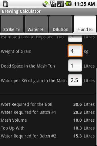 Brewing Calculator - screenshot