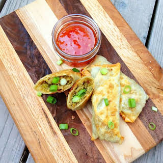 Baked Egg Rolls with Bacon and Sweet Chili Dipping Sauce.