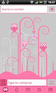 GO SMS Pro Pink Owl Theme - screenshot thumbnail