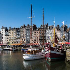 Honfleur by Dominic Schroeyers - Uncategorized All Uncategorized ( colors, boats, harbour, buildings, normandie, summer, france, honfleur )