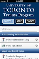 Screenshot of U of T Trauma Protocols