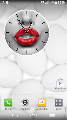 紅嘴唇時鐘小工具