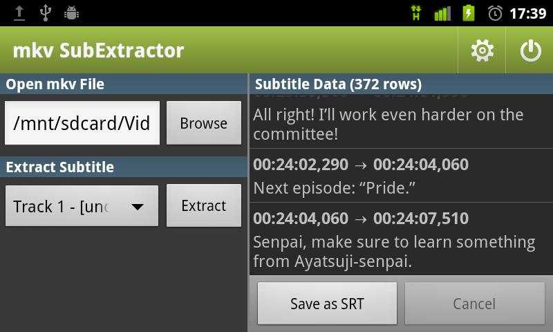 mkv SubExtractor - screenshot