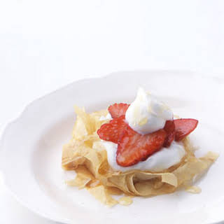 Phyllo Nests with Strawberries and Honey.