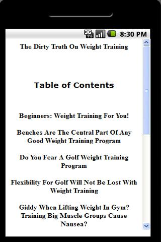 Dirty Truth On Weight Training