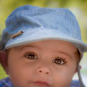 Fancy coming for a walk? by Laura Prieto - Babies & Children Babies ( cute baby boy, blue, baby boy with cap, baby big eyes, boy, baby boy,  )