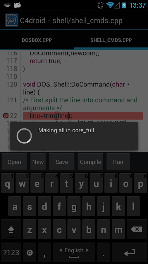 C4droid - C/C++ compiler & IDE - screenshot