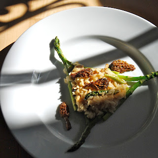 Baked Risotto with Morels and Asparagus.