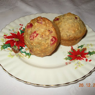 Cranberry Cherry Flaxseed Muffins