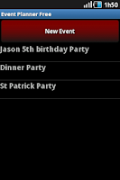 Screenshot of Event Planner
