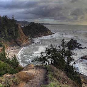 Sunset Bay, State Park, Coos Bay, Oregon by Ken Miller - Landscapes Travel ( oregon, coos bay, parks, landscape photography, ocean, travel photography, sunset bay )