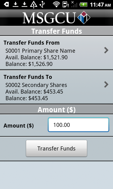MSGCU Mobile Banking - screenshot
