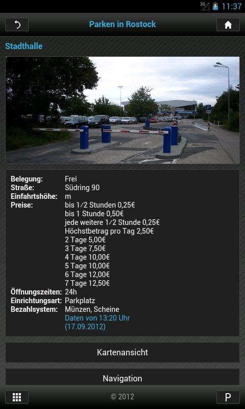 Parken in Rostock- screenshot