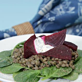 Lentil Salad with Baked Beets, Spinach and Yogurt-Mint Dressing.