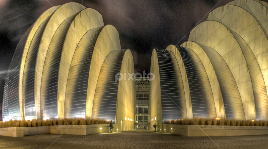 Kaufman Performing Arts Center by Dave Clark - Buildings & Architecture Other Exteriors ( kansas city, performing arts, theater, architecture, , city, night, city at night, street at night, park at night, nightlife, night life, nighttime in the city )