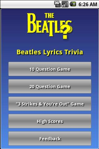 Beatles Lyrics Trivia - screenshot