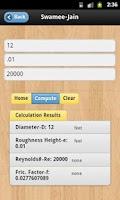 Screenshot of Colebrook White Calculator