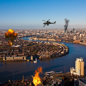 London under attack! by Patrick Langley - Novices Only Landscapes ( london sky line )