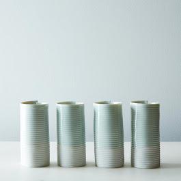 Porcelain Ribbed Tumblers (Set of 4)
