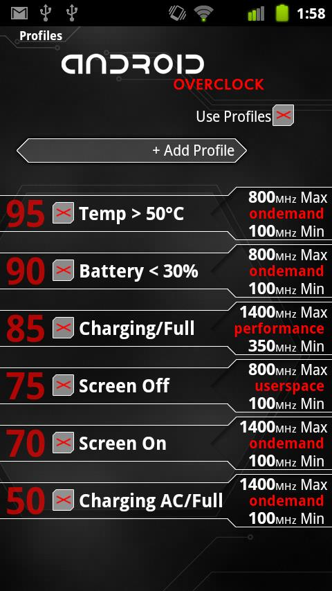 Android Overclock - screenshot