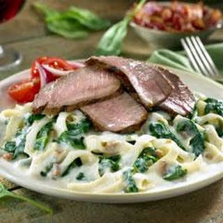 Smokehouse Steak & Pasta with Creamed Spinach.