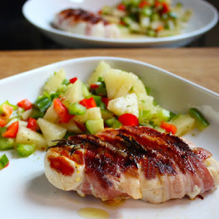 Now for my Bacon Wrapped Chicken with Pineapple Pepper and Chilli Salsa!.
