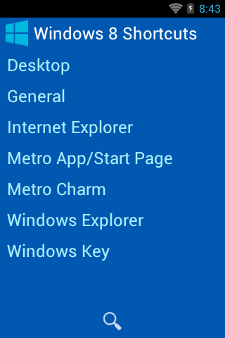Windows 8 Shortcuts Handbook - screenshot