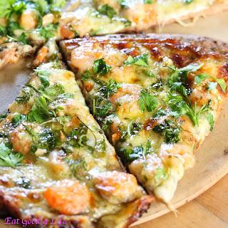 Shrimp Scampi Pizza.