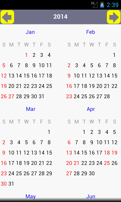 AU Holiday Calendar 2014 - screenshot