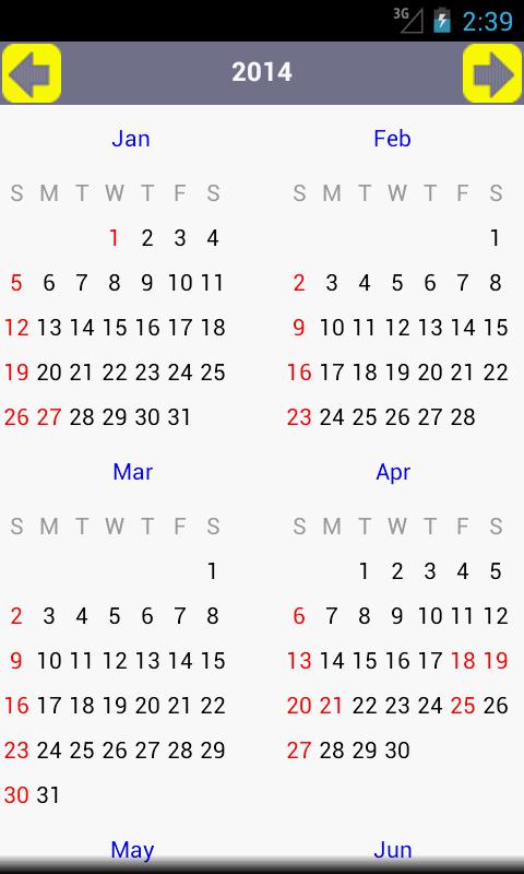 AU Holiday Calendar 2015- screenshot