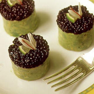 Timbale of Osetra Caviar, Crabmeat, and Avocado.