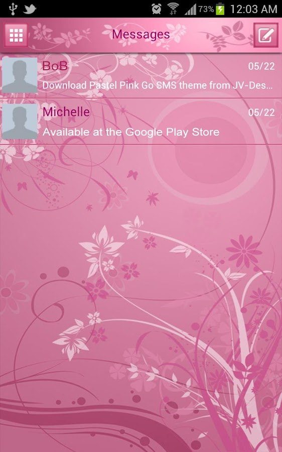 Pastel Pink Go SMS Theme - screenshot