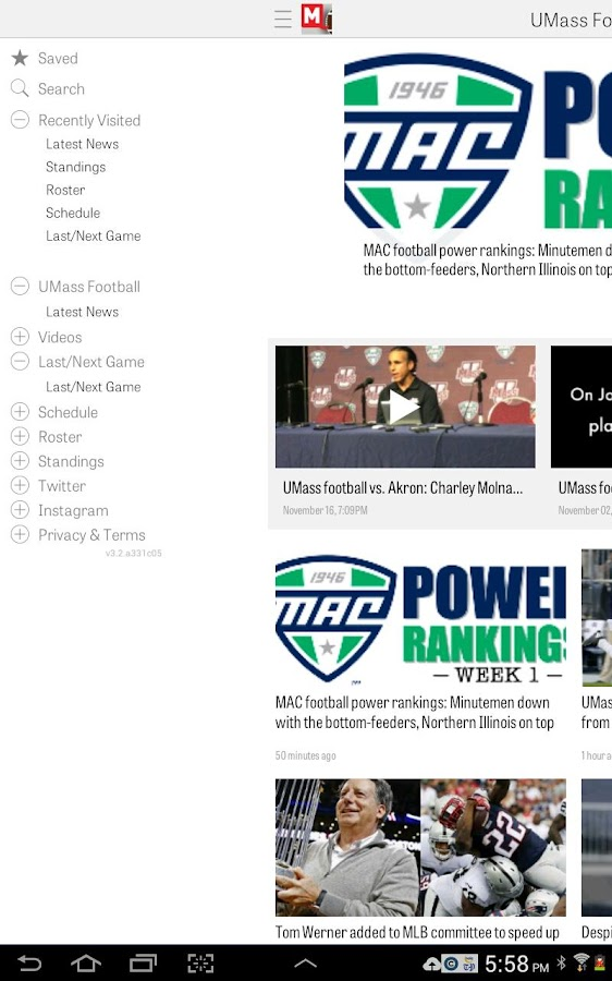 MassLive.com: UMass Football- screenshot