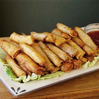 Shanghai Spring Rolls with Sweet Chili Sauce.