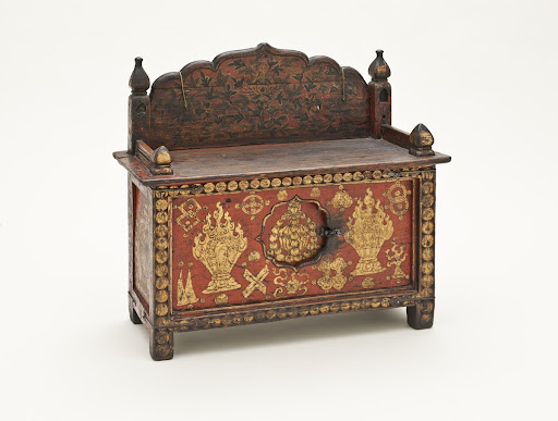 Book Stand and Chest (Pegam) with Auspicious Symbols