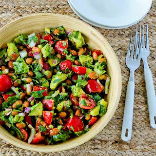 Pinto Bean Salad with Avocado, Tomatoes, Red Onion, and Cilantro.