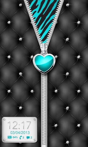 ♥ Teal Heart Zipper Locker ♥