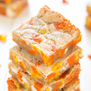 Candy Corn and White Chocolate Blondies