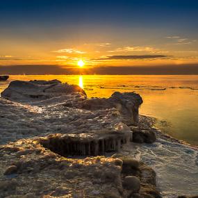 Long Cold Winter III by James Meyer - Landscapes Waterscapes ( iceberg, jamesmeyerphotography, lake michigan, sunset, ice, yourhomeport, frozen lake, seascape, sunrise, port washington, frozen, photography )