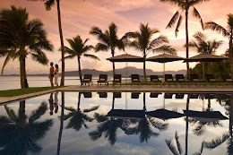 One of the Hilton pools at sunset