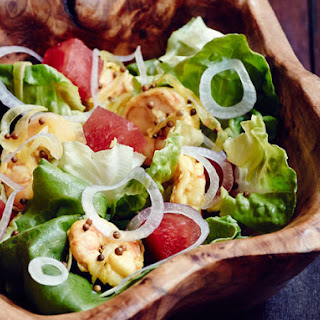 Watermelon and Red Onion Salad With Bibb Lettuce, Pickled Shrimp, and Jalapeño Vinaigrette From 'Heritage'.