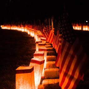 Gettysburg Cemetery by Michelle Nolan - City,  Street & Park  Cemeteries ( memorial, pa, cemetary, night, luminaries, gettysburg,  )
