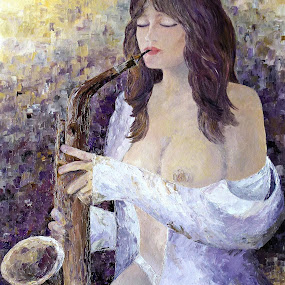 Night in White Satin by Amas Art - Painting All Painting ( music, nude, saxophone, night, romance )