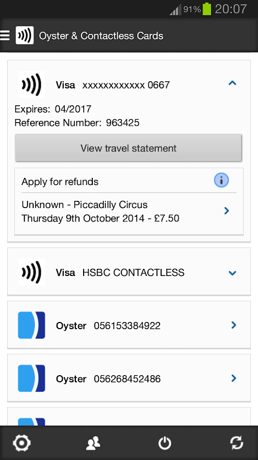 London Oyster Contactless - screenshot