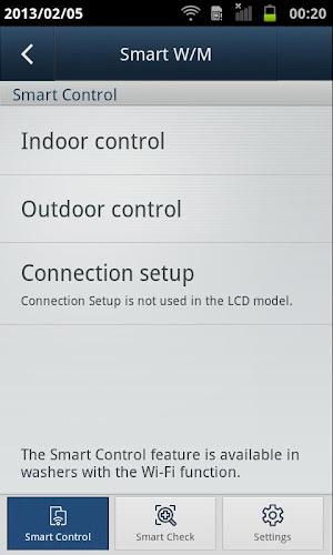 SAMSUNG Smart Washer/Dryer Android App Screenshot